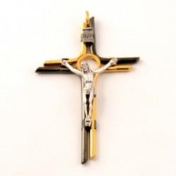 Crucifix métal bi-couleur