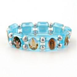 Bracelet religieux des Saints bleu clair