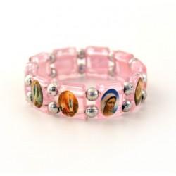 Bracelet religieux de Saints rose