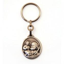 Porte-clés Saint Christophe ovale argenté