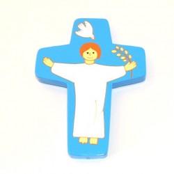 Croix Christ ressuscité bleue