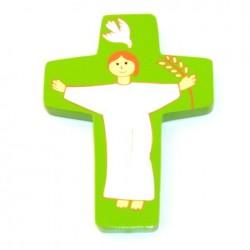 Croix Christ ressuscité vert