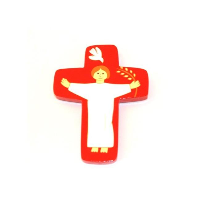Croix Christ ressuscité rouge