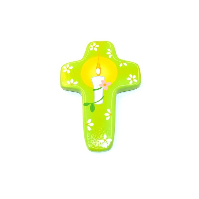 Croix bougie vert