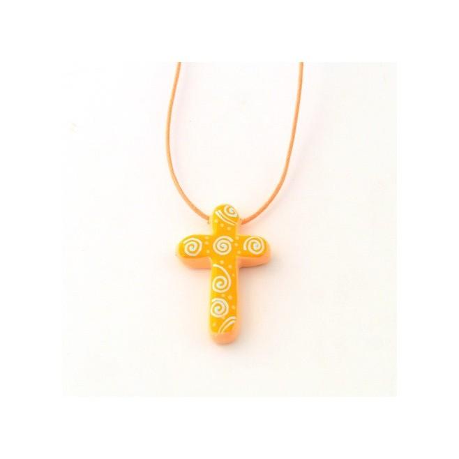 Croix pendentif orange