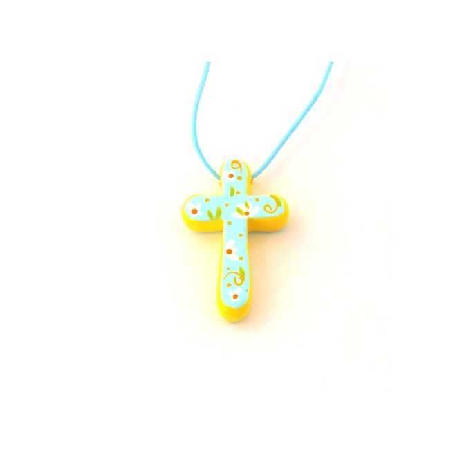 Croix pendentif bleue