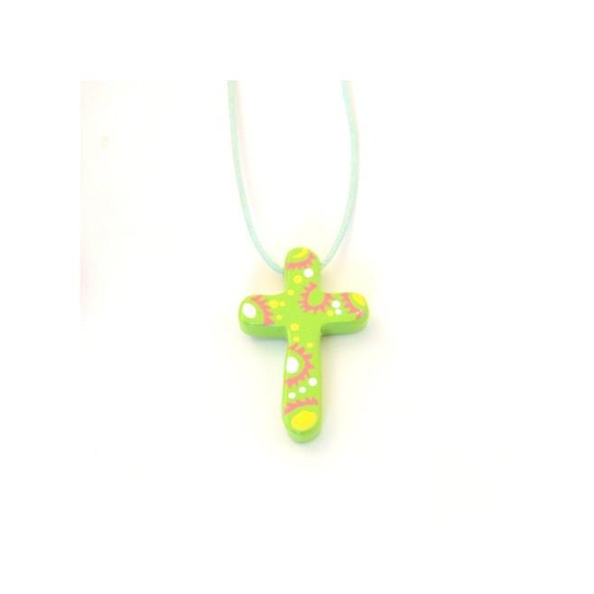 Croix pendentif verte