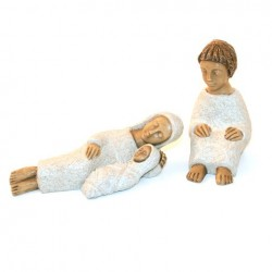Crèche Moniale de Bethleem - Nativité 3 santons BLANC