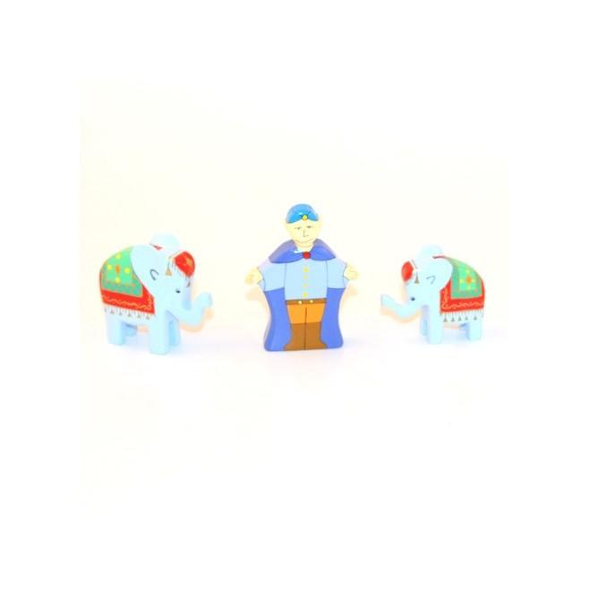 Crèche en bois - Cornack et éléphants