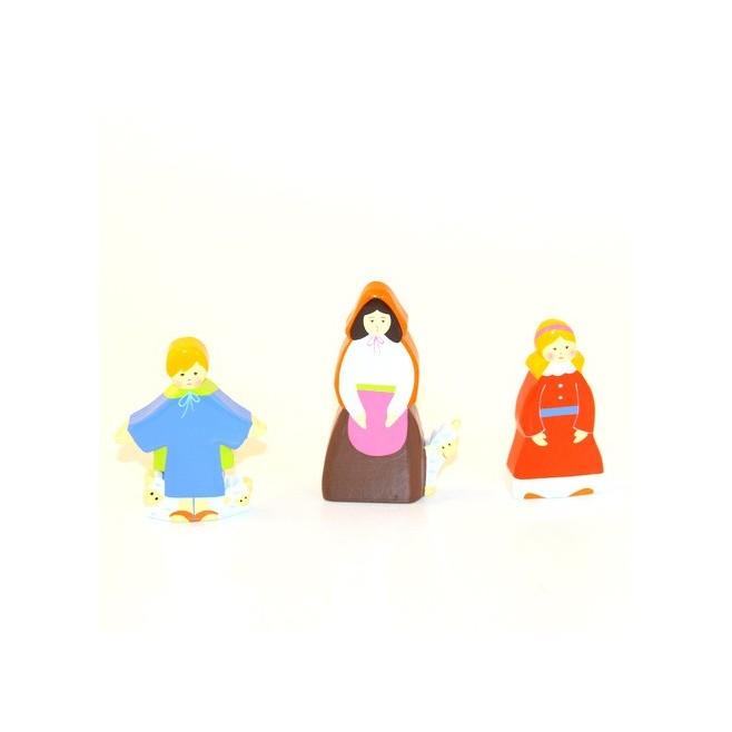 Crèche en bois - Bergère et enfants