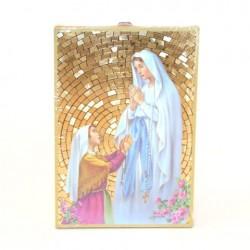 Icone religieuse dorée Notre Dame de Lourdes