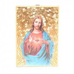 Icone religieuse dorée Sacré Coeur de Jésus