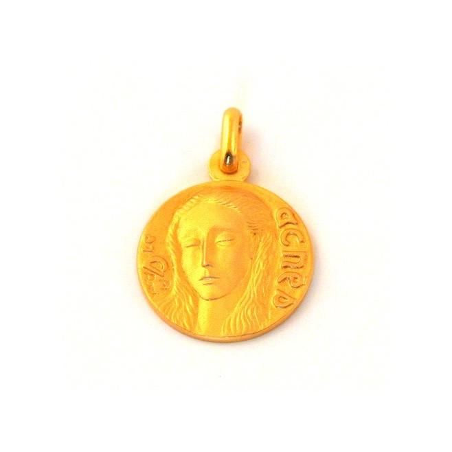 Médaille Sainte Agnès - plaqué or