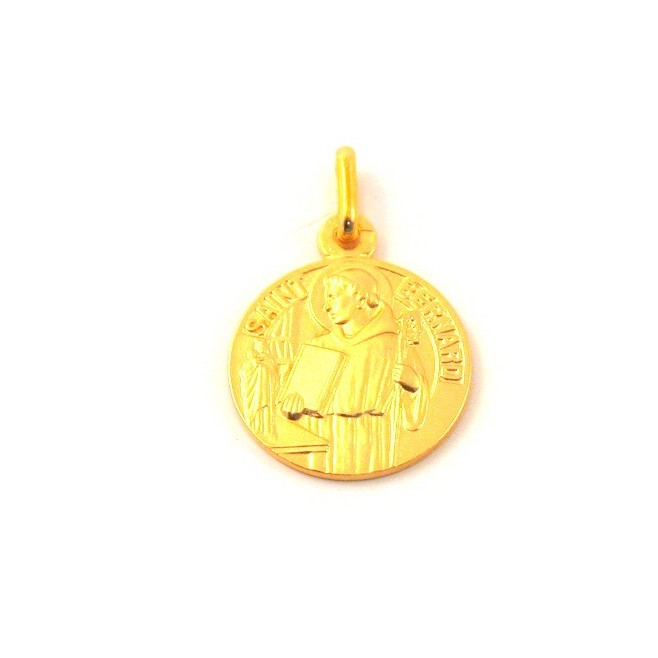 Médaille Saint Bernard - plaqué or