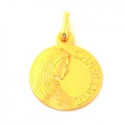Médaille Sainte Charlotte - plaqué or