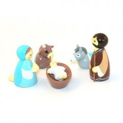Crèche de Noël - 5 santons et étable