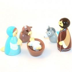 Crèche de Noël - 5 santons en bois