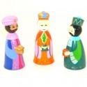 Crèche de Noël en bois peint tourné - 3 rois mages