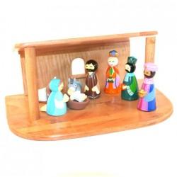 Crèche de Noël en bois tourné - 8 santons