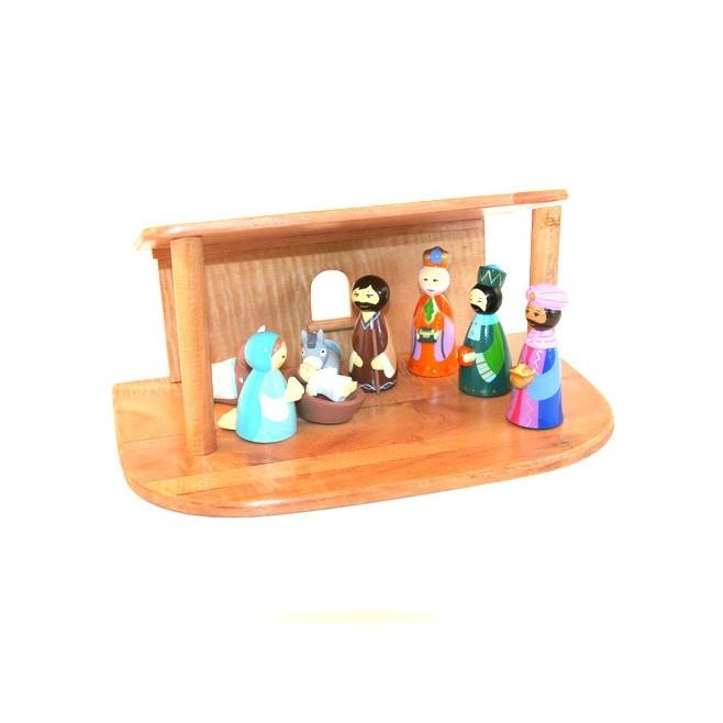 Crèche de Noël - 8 santons bois tourné