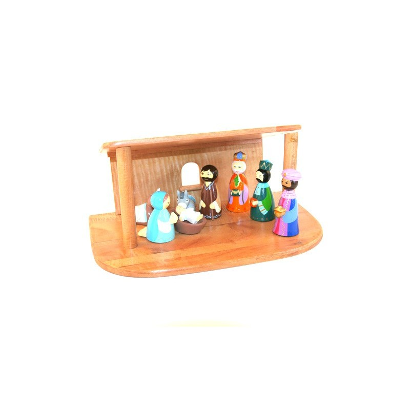 Cr che de no l en bois tourn 8 santons comptoir religieux - Fabriquer une creche de noel en bois ...