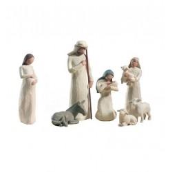 Cadeau de Noël : Crèche de Noël Willow Tree - 7 santons de crèche