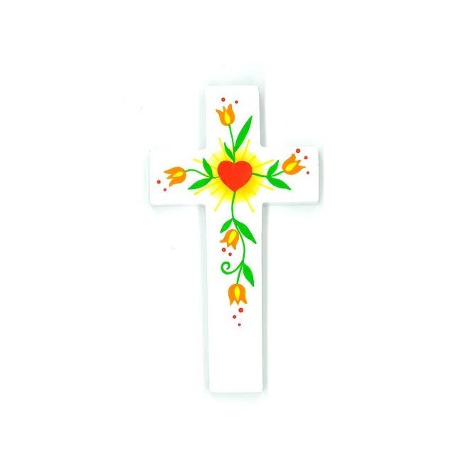 Croix d'Amour - Coeur et fleurs oranges