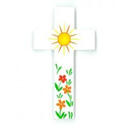 Croix d'Amour - Soleil et fleurs orange