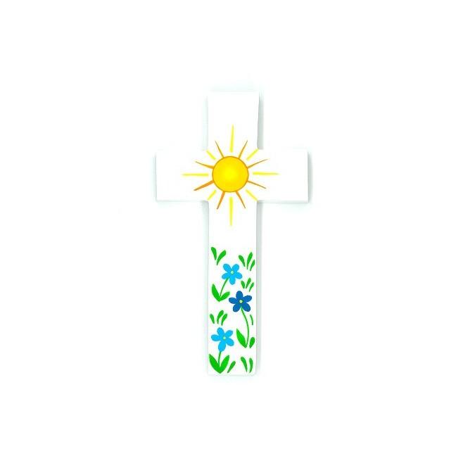 Croix d'Amour - Soleil et fleurs bleues
