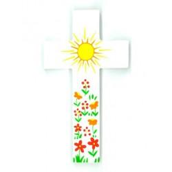 Grande Croix d'Amour - Soleil et fleurs rouges