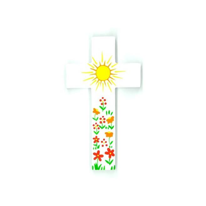 Grande Croix d'Amour - Soleil et fleurs bleues