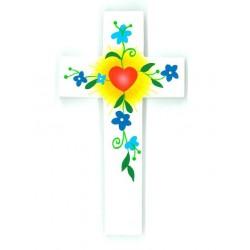 Grande Croix d'Amour - Coeur et fleurs bleues