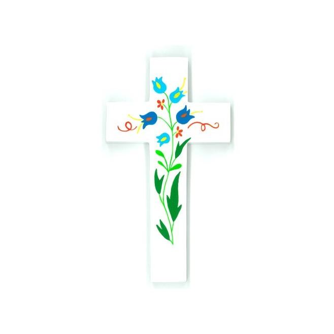 Grande Croix d'Amour - Fleurs bleues
