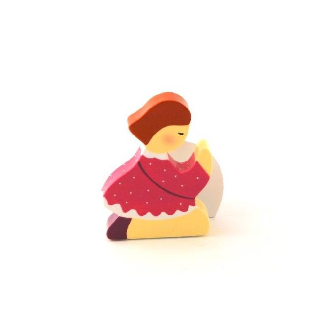 """Socle """"Fille"""" brune Plaquette Prière enfant"""