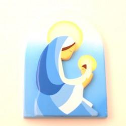 Cadre religieux en bois - Vierge à l'enfant fond bleu