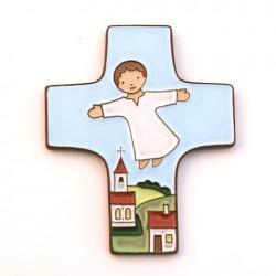 "Croix céramique ""Enfant de Dieu"" bleu ciel."