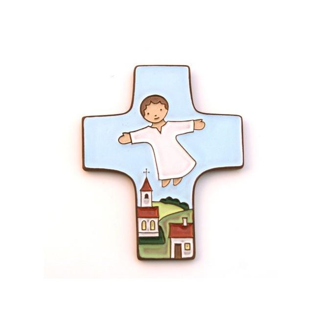 """Croix """"Protège nos enfants"""" en céramique."""