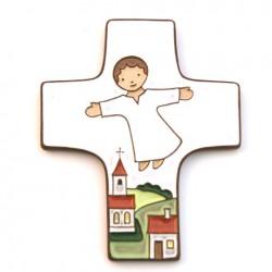 """Croix céramique """"Enfant de Dieu"""" blanc"""