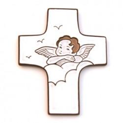 """Croix céramique """"Ange"""" blanc"""