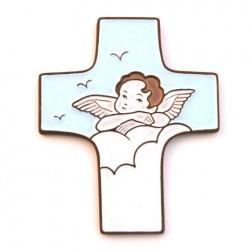 """Croix céramique """"Ange"""" blanc et bleu ciel"""