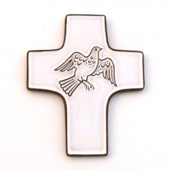 """cadeau religieux - Croix céramique """"Colombe"""""""