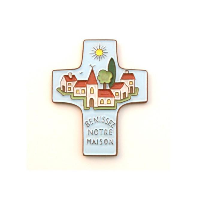 """Croix céramique """"Bénissez Notre Maison"""" bleu clair"""