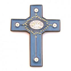 Croix en céramique bleue et dorée