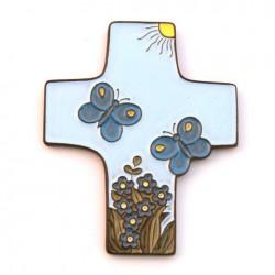 """cadeau 1ère communion : Croix céramique """"papillon"""" bleue"""
