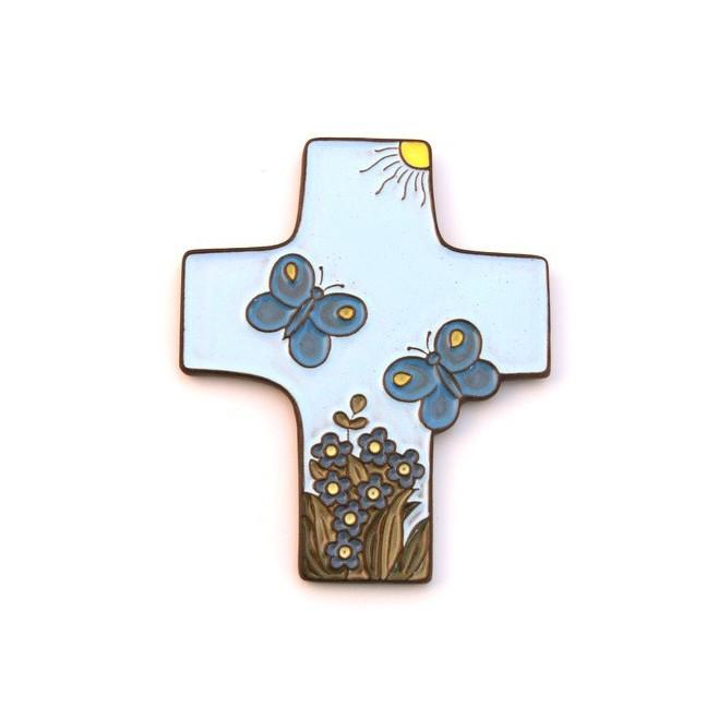 """Croix céramique """"Enfant de Dieu"""" bleu claire"""