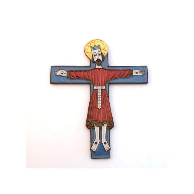 Crucifix en céramique bleu rouge et or.