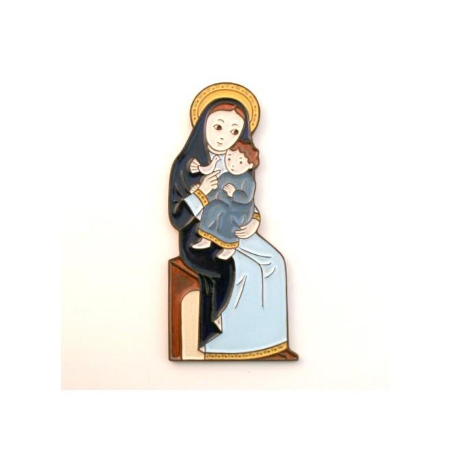 Vierge assise et à la colombe céramique bleue