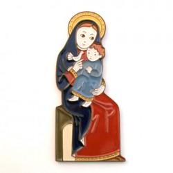 cadeau de baptême - Vierge à la colombe céramique rouge