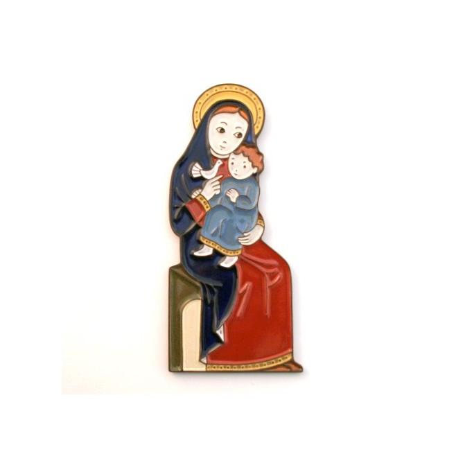 Vierge assise et à la colombe céramique rouge