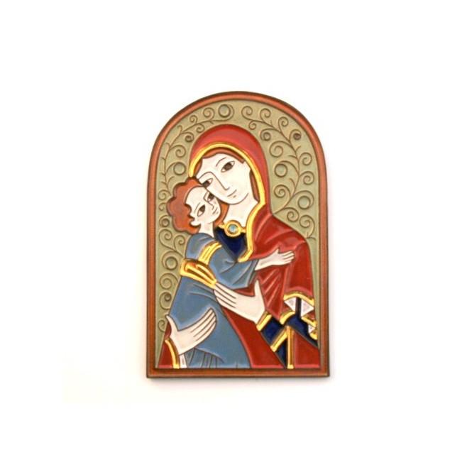 Icone céramique Vierge dorée